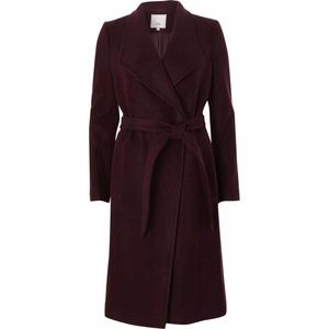 river island burgundy belted robe coat